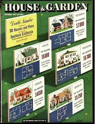 1940s Fashion Photograph - A House And Garden Cover Of Floorplans by Robert Harrer