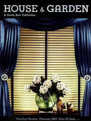 A House And Garden Cover Of Flowers By A Window Art Print by Anton Bruehl