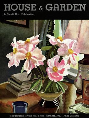 Vase Table Photograph - A House And Garden Cover Of Rhododendrons by David Payne
