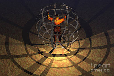 Punishment Digital Art - A Human Figure Trapped In A Prison Cage by Mark Stevenson