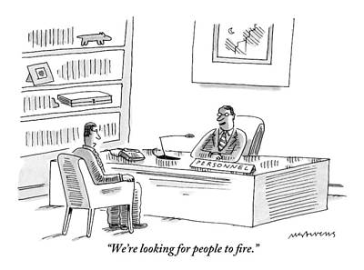 Interview Drawing - A Human Resources Office Worker Speaks To An by Mick Stevens