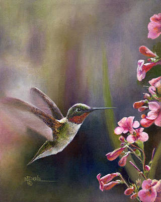 Painting - A Hummingbird Wow Banquet Time by Mary Dove