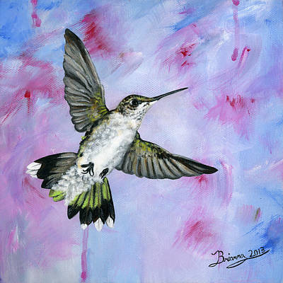Brianna Painting - A Hummingbird's Pink Dream by Brianna Mulvale