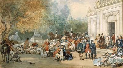 Aristocrat Drawing - A Hunting Breakfast In England, 1870 by Eugene-Louis Lami