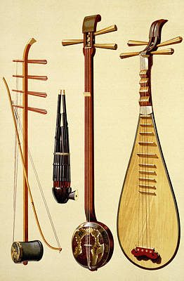 Lute Drawing - A Huqin And Bow, A Sheng, A Sanxian by Alfred James Hipkins
