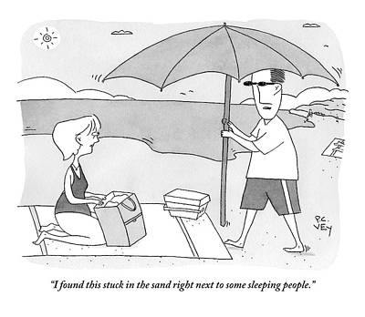 Umbrellas Drawing - A Husband Returns To His Wife At The Beach Having by Peter C. Vey