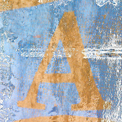 Alphabet Digital Art - A In Blue by Carol Leigh