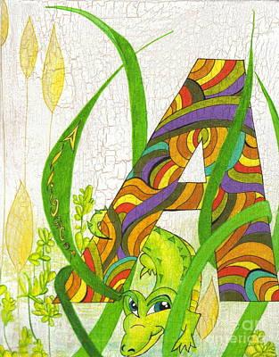Alligator Mixed Media - A Is For Alligator  by Carolyn Polk