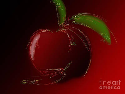 Digital Art - A Is For Apple 1 by Andee Design