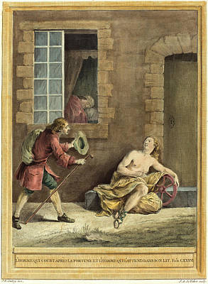 Handcolored Etching Drawing - A.-j. De Fehrt After Jean-baptiste Oudry by Litz Collection