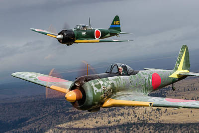 A Japanese A6m Zero And A Ki-43 Oscar Art Print by Rob Edgcumbe