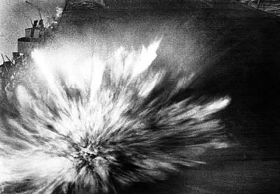 A Japanese Bomb Explodes On The Flight Art Print by Everett