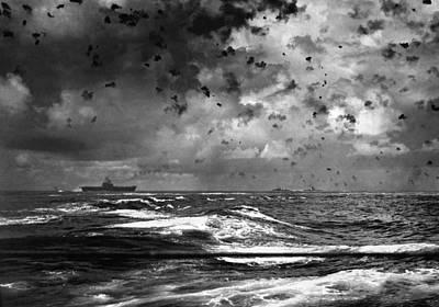 A Japanese Bomb Splashes Art Print