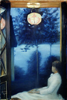 Woman At The Window Painting - A Japanese Lantern by Oda Krohg