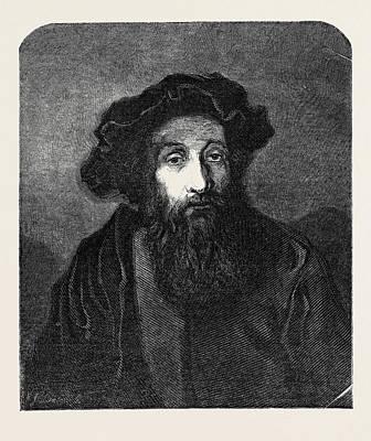 Jewish Art Drawing - A Jewish Rabbi, In The National Gallery by Rembrandt Harmensz. Van Rijn (1606-69), Dutch