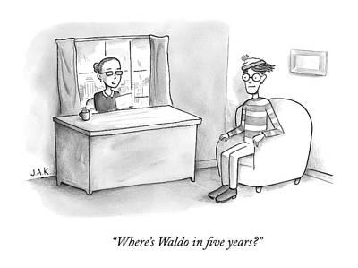 Interview Drawing - A Job Interviewer Asks Waldo by Jason Adam Katzenstein