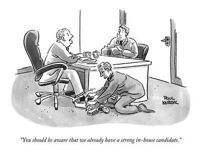 Interview Drawing - A Job Interviewer Tells An Interviewee by Paul Karasik