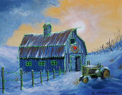 Prairie Sky Art Painting - A John Deere Green Christmas by Jerry McElroy