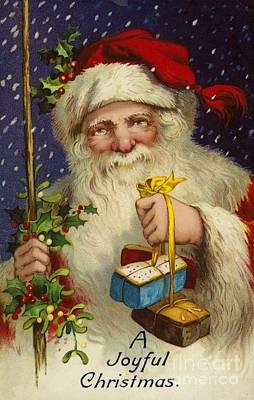 Father Christmas Painting - A Joyful Christmas by English School