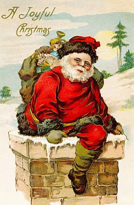 Christmas Cards Digital Art - A Joyful Christmas by Vintage Christmas Card