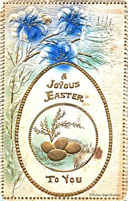 Photograph - A Joyous Easter To You Vintage Postcard by Audreen Gieger