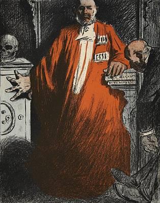 Cartoon Drawing - A Judge In Full Garments, Illustration by Eugene Cadel