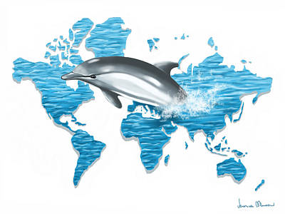 Dolphin Digital Art - A Jump In The World by Veronica Minozzi