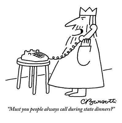 Drawing - A King Is Seen Answering His Telephone by Charles Barsotti