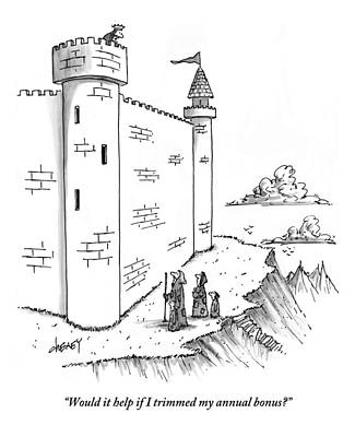 Poor People Drawing - A King Looks Over The Parapet Of His Castle by Tom Cheney