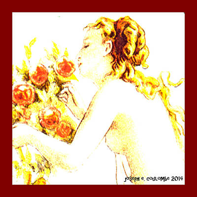 Digital Art - A Lady Whispers To Roses by Joseph Coulombe