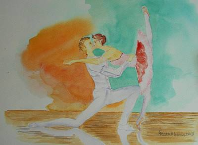 Painting - A Kiss In Ballet  by Geeta Biswas