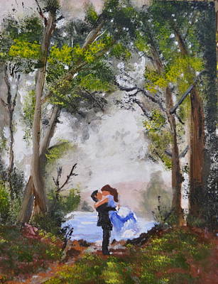 Peaple Painting - A Kiss In The Wood by Lorenzo Manaigo