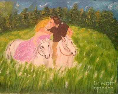 Art Print featuring the painting A Kiss - On Horseback by Brindha Naveen