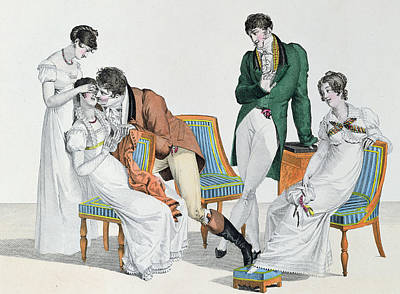 Nineteenth Century Drawing - A Kissing Game by French School