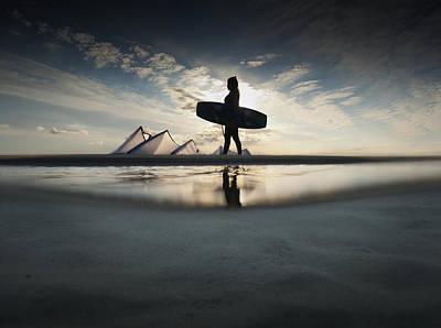 A Kitesurfer Walks Along The Beach At Art Print by Ben Welsh