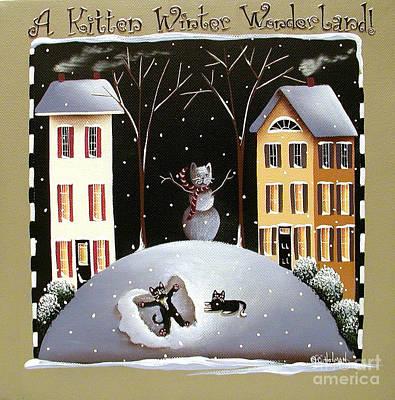 A Kitten Winter Wonderland Art Print by Catherine Holman