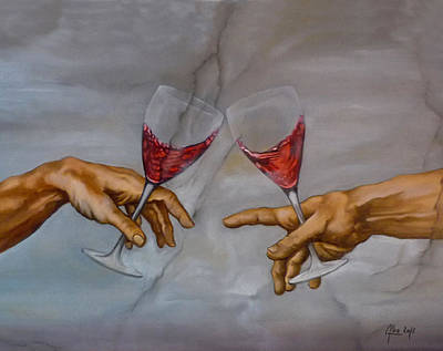 Hand Painted Wine Glass Painting - a la sante de Michel Ange by Didier Albo