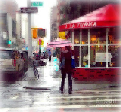 Photograph - A La Turka In The Rain - Restaurants Of New York by Miriam Danar