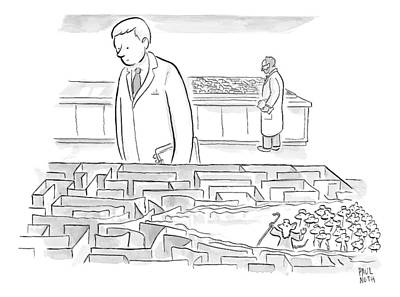 Mouse Drawing - A Laboratory Scientist Looks On As The Walls by Paul Noth