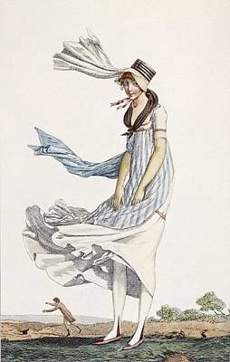 Fashion Drawing - A Ladies Summer Promenade Dress, 1800 by Philibert Louis Debucourt