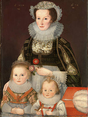 Gold Earrings Painting - A Lady And Her Two Children Dated In Gold Paint by Litz Collection