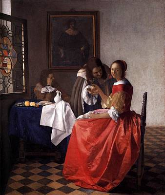 Pitcher Painting - A Lady And Two Gentlemen by Johannes Vermeer