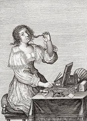 Dresser Photograph - A Lady At Her Toilette, After A 17th Century Engraving By Le Blond.  From Illustrierte by Bridgeman Images