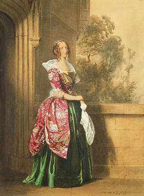 Handkerchief Painting - A Lady In Her Costume Worn by Edward Henry Corbould
