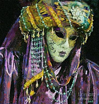 Venetian Mask Painting - A Lady In Purple by Dragica  Micki Fortuna