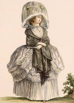 Shawl Drawing - A Ladys Summer Promenade Gown, Engraved by Claude Louis Desrais