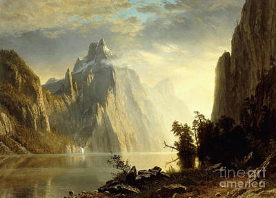 Bank Clouds Hills Painting - A Lake In The Sierra Nevada by Albert Bierstadt
