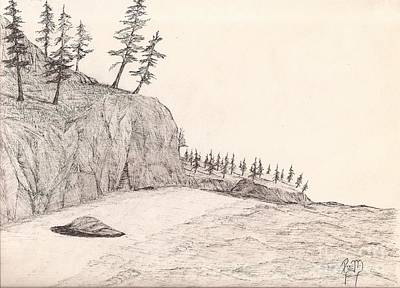 A Lakeshore... Sketch Art Print by Robert Meszaros