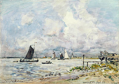 A Landing Stage On The Escaut Art Print