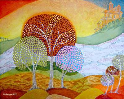 Painting - Landscape In My Dream by Hemu Aggarwal